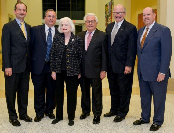 From left to right: College of Law Dean R. Alexander Acosta; Robert Spak; Rosalind Spak; Ted Spack; FIU President Mark Rosenberg; and Howard Lipman, senior vice president of FIU advancement