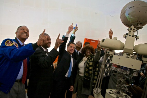 From left to right: Former NASA astronaut Winston Scott, Booker T. Washington Principal William Aristide and Miami-Dade County Schools Superintendent Alberto Carvalho celebrate the re-opening of the high school's planetarium.