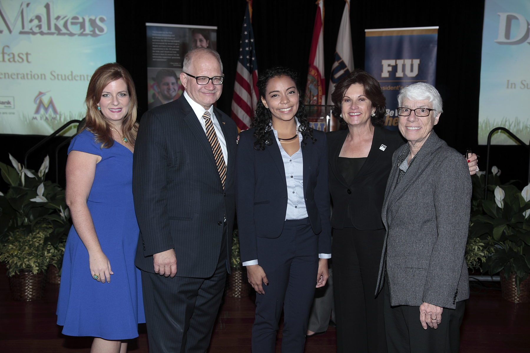 """Lourdes """"Luly"""" Balepogi, chair-elect of the President's Council and chair of the First Generation Task Force, right; with FIU President Mark B. Rosenberg; Bianca Ordoñez, the event's main student speaker; Mary Hoelle, chair of the President's Council; and Lesley Northup, FIU Honors College Dean."""
