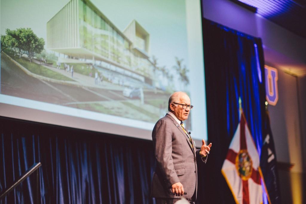 President Mark B. Rosenberg delivers the State of the University address in the GC Ballrooms April 11.