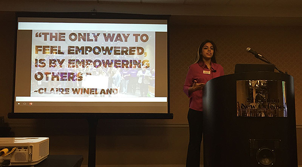 AMA@FIU member Stephanie Espinoza during her presentation at the AMA International Collegiate Conference