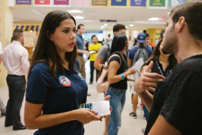 Indiana Sanchez speaking to student