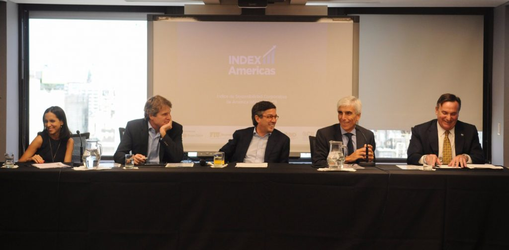 From left to right: Maria Julia Diaz Ardaya, Manager CSR and Sustainability, Grupo Clarin; James M Scriven, Chief Executive Officer, Inter-American Investment Corporation (IIC); Luis Alberto Moreno, President, Inter-American Development Bank (IDB); Jorge Rendo, President, Grupo Clarín and José Aldrich, Acting Dean, FIU College of Business.