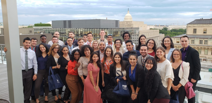 Summer 2018 student interns on the rooftop of FIU in D.C.